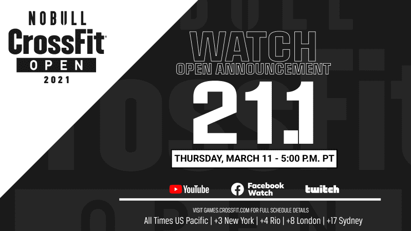 watch crossfit open workout 21.1 live announcement