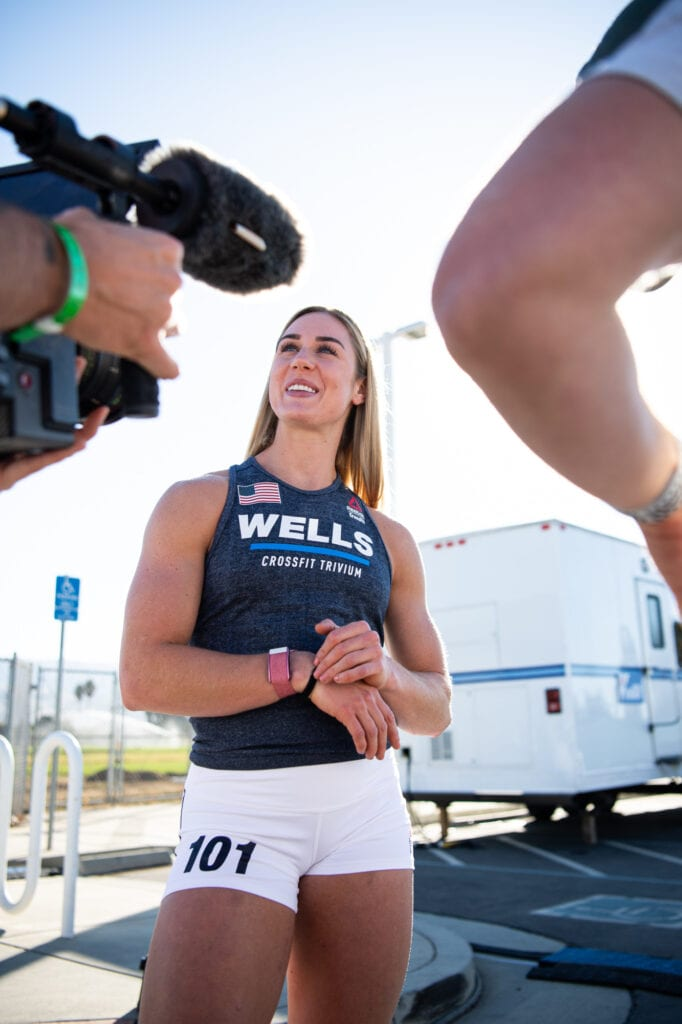 CrossFit games finalist Brooke Wells being interviewed for CrossFit games documentary resurgence