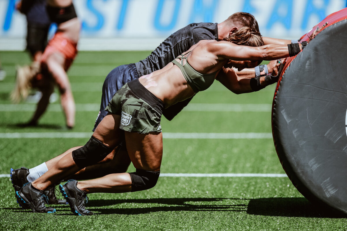 team at the crossfit games performs workout