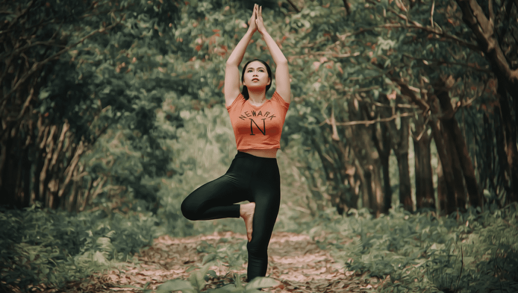 standing yoga poses in tranquil forest
