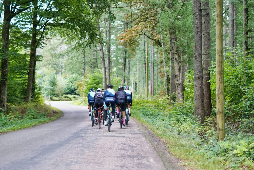 group of cyclists hit milestone